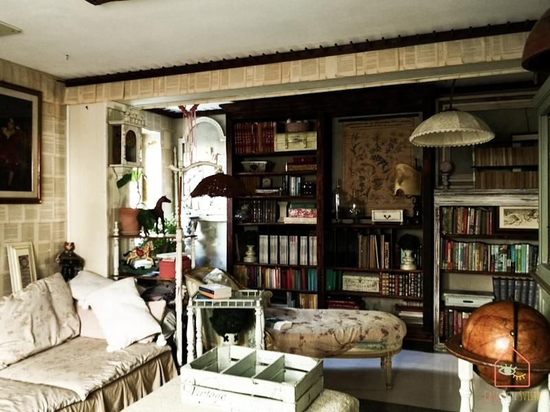 Soggiorno libreria a parete sala lettura